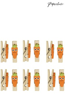 Paperchase Carrot Shaped Pegs - Set of 12