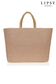 Lipsy Lurex Shimmer Straw Beach Bag