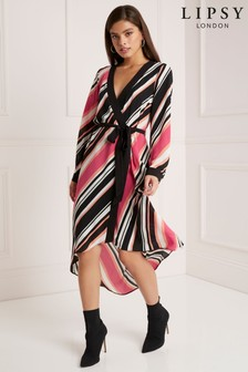 Lipsy Stripe Wrap Dress