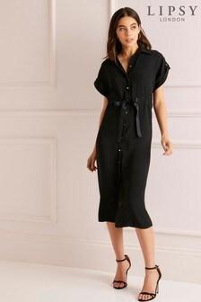 Lipsy Short Sleeve Midi Shirt Dress