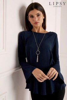 Lipsy Flute Sleeve Necklace Top