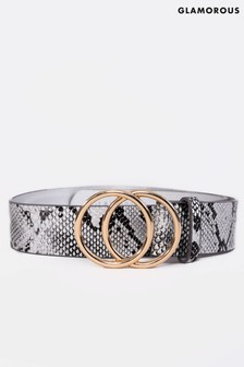 Glamorous Double Ring Snake Print Belt