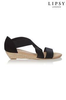 5fdd7d17c241 Black · Nude · Lipsy Cross Strap Elastic Wedge