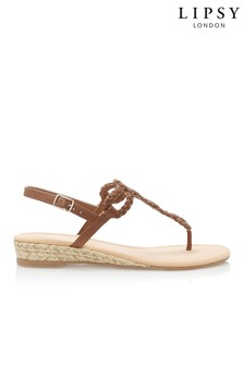 a93a1957e1456e Tan · Gold · Lipsy Elevated Plaited Sandals