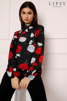 Lipsy Floral High Neck Top