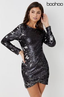 Boohoo Petite Sequin Bodycon Mini Dress