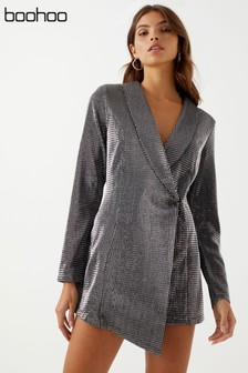 Boohoo Petite Metallic Blazer Dress
