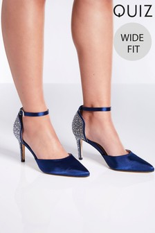 Quiz Wide Fit Satin Diamanté Heel Court Shoes