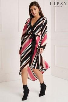 Lipsy Petite Stripe Wrap Dress