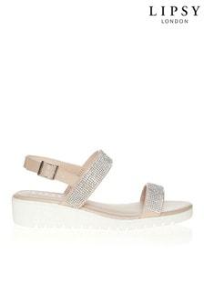 Lipsy Two Strap Diamanté Flat Sandals