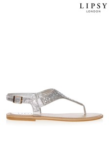 cbb795fd6388 Lipsy Diamante Flat Sandals