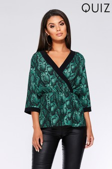 Quiz Snake Print Wrap Front Top