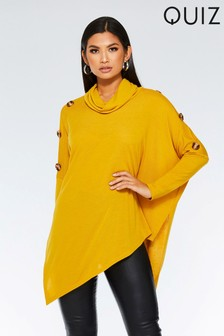 Quiz Asymmetric Cowl Neck Button Detail Top