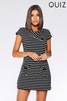 שמלת טוניקה סרוגה עם כפתור קשירה של Quiz