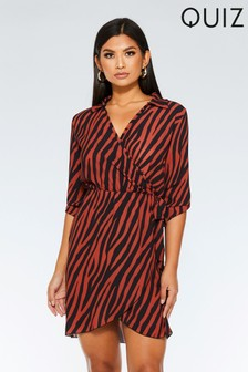 e331490ce8 Quiz Zebra Print Wrap Front Dress