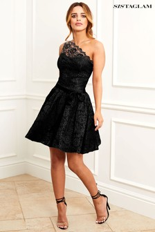 Sistaglam Sweetheart Lace Skater Dress