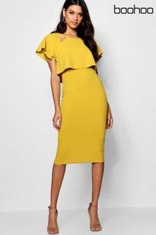 فستان متوسط الطول طبقة مزدوجة من Boohoo