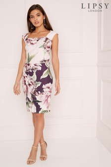 Lipsy Amelie Print 2 Tone Bodycon Dress