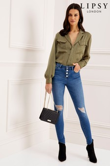 Lipsy Kate Skinny Jeans in Used-Optik mit mittelhoher Taille in Regular-Länge mit Knopf vorne