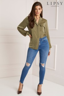 Lipsy Kate Mid Rise Skinny Distressed Button Front Long Length Jeans