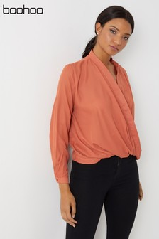 Boohoo Draped Long Sleeve Blouse