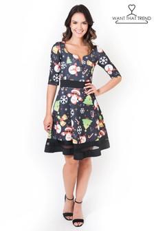 Короткое приталенное платье в рождественском стиле Want That Trend