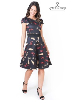 Want That Trend Prosecco Ho Ho Ho Band Skater Dress