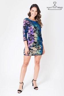 Want That trend Velvet Sequin Bodycon Dress