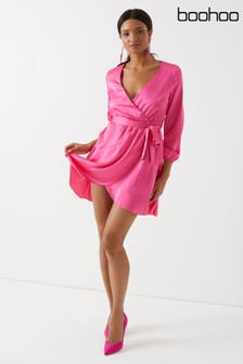 Boohoo Satin Wrap Dress