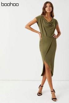 Boohoo Drape Front Midi Dress
