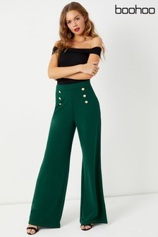 Boohoo Military Button Wide Leg Trousers