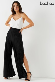 Boohoo Plisse Wide Leg Trousers