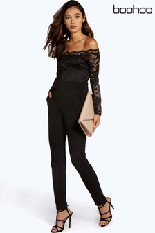 Boohoo Scallop Lace Off Shoulder Jumpsuit