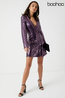 Boohoo Sequin Wrap Blazer Dress
