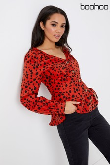 Boohoo Mock Horn Animal Print Shirt
