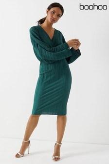 Boohoo Plisse Wrap Midi Dress