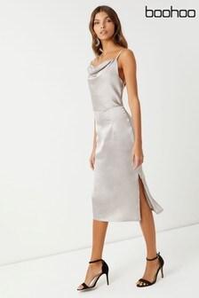 Boohoo Satin Square Neck Midi Dress