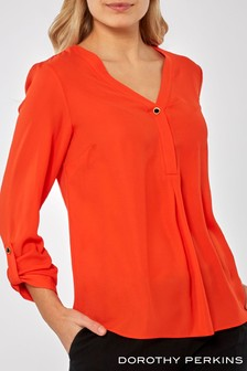Dorothy Perkins Button Roll Sleeve Top