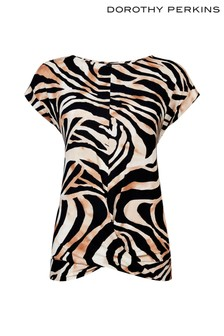 Dorothy Perkins Twist Front Tiger Print Tee