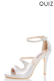 Quiz Faux Leather Diamanté Strap Heeled Sandal
