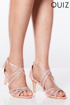 Quiz Diamanté Strappy Low Heel Sandals