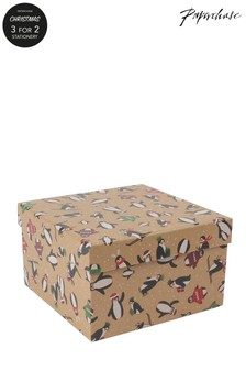 Paperchase Penguins Christmas Gift Box Medium