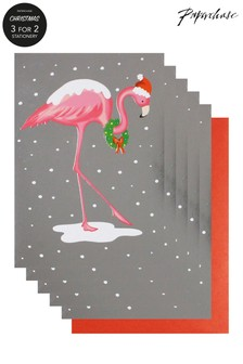 Paperchase Flamingo Pack Of 5 Christmas Cards