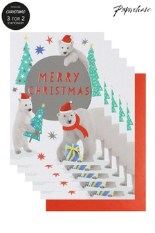 Paperchase Polar Bears Pack Of 5 Christmas Cards