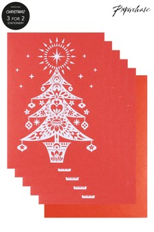 Paperchase Scandi Tree Pack Of 5 Christmas Cards