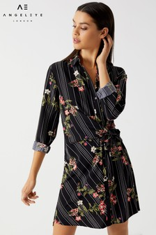 Angeleye Floral Print Shirt Dress