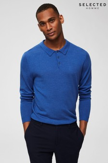 Selected Homme Merino Wool Long Sleeve Polo T-Shirt