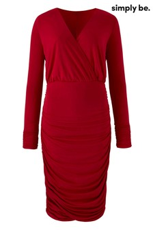 Simply Be Curve Plunging Neckline Ruched Side Bodycon Dress