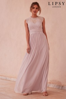 Lipsy Elsa Mesh Maxi Dress with Lace Sleeve 0868771dc1e6