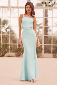 Lipsy Faye Embellished Removable Strap and Bow Detail Fishtail Maxi Dress